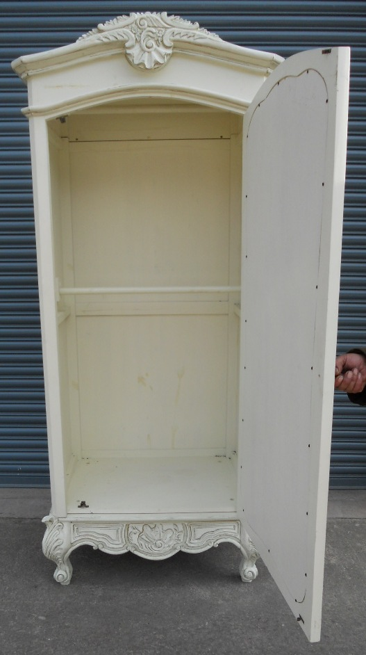 White Painted Mirror Door Louis Style Armoire Wardrobe SOLD